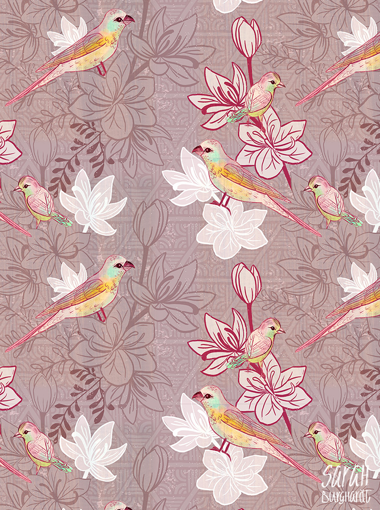 Birds and flowers japanese Pattern by sarah burghardt