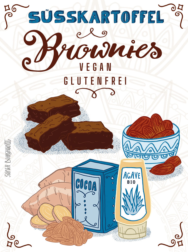 Food Illustration Süßkartoffel Brownies