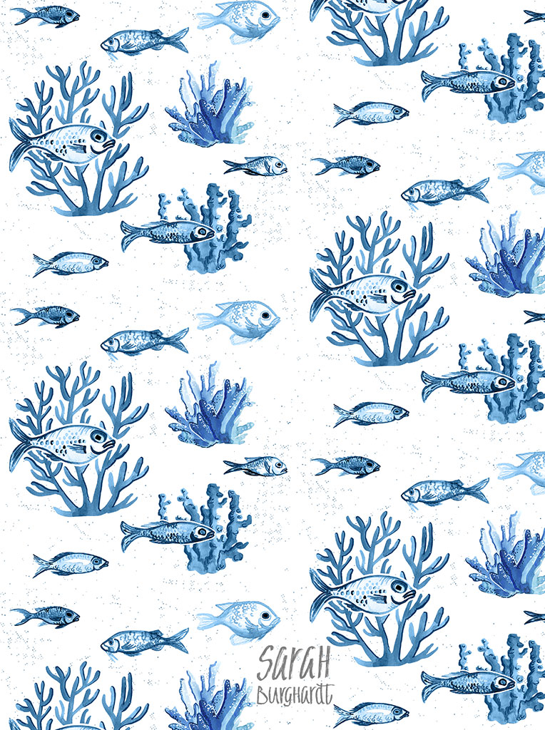 watercolor, drawing, corals, fish, pattern