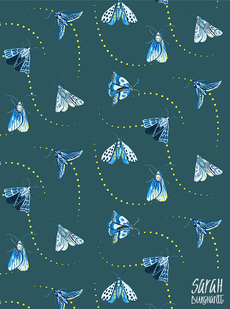 Moth Pattern Watercolor by Sarah Burghardt