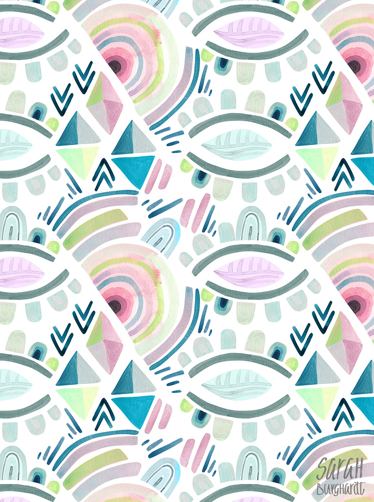 Abstract watercolor pattern by sarah burghardt